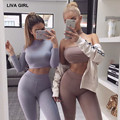 LIVA GIRL Women tracksuit 2 piece set 2017 Solid color Round neck Long sleeves blouse+pants two piece sets Sportswear suit
