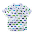 New 2016 Spring/summer Children Boys cartoon cars printed Cotton Short-sleeved Shirts Kids Boy's Shirts fashion blouse for 2-8T