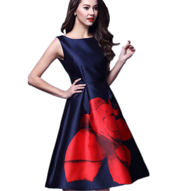 1e2a58cf2a2e4 European Vintage Style Women Dress New Arrival Rose Printed Casual Vestidos  Sleeveless Ladies Elegant Dress Brand Clothing DR448