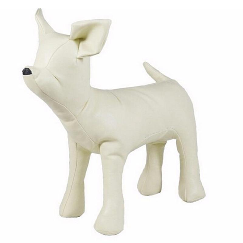 Leather Dog Mannequins Standing Position Dog Models Toys Pet Animal Shop Display Mannequin White S