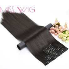 "MISS WIG 15 colores disponibles 24 ""16 Clips en extensiones de cabello recto estilo de pelo sintético pelo falso(China)"