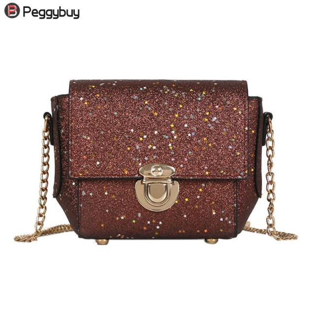 Glitter Sequins Women PU Chain Handbags Messenger Crossbody Bags Party  Shoulder Sling Bags Fashion Girls Shinning Clutch Bags 01b3d0d2fb6f