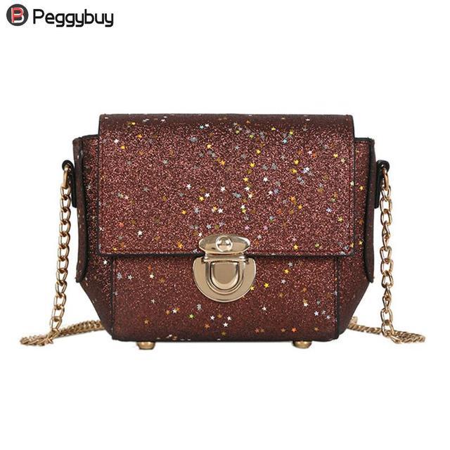 16418bf9b39 Glitter Sequins Women PU Chain Handbags Messenger Crossbody Bags Party  Shoulder Sling Bags Fashion Girls Shinning Clutch Bags