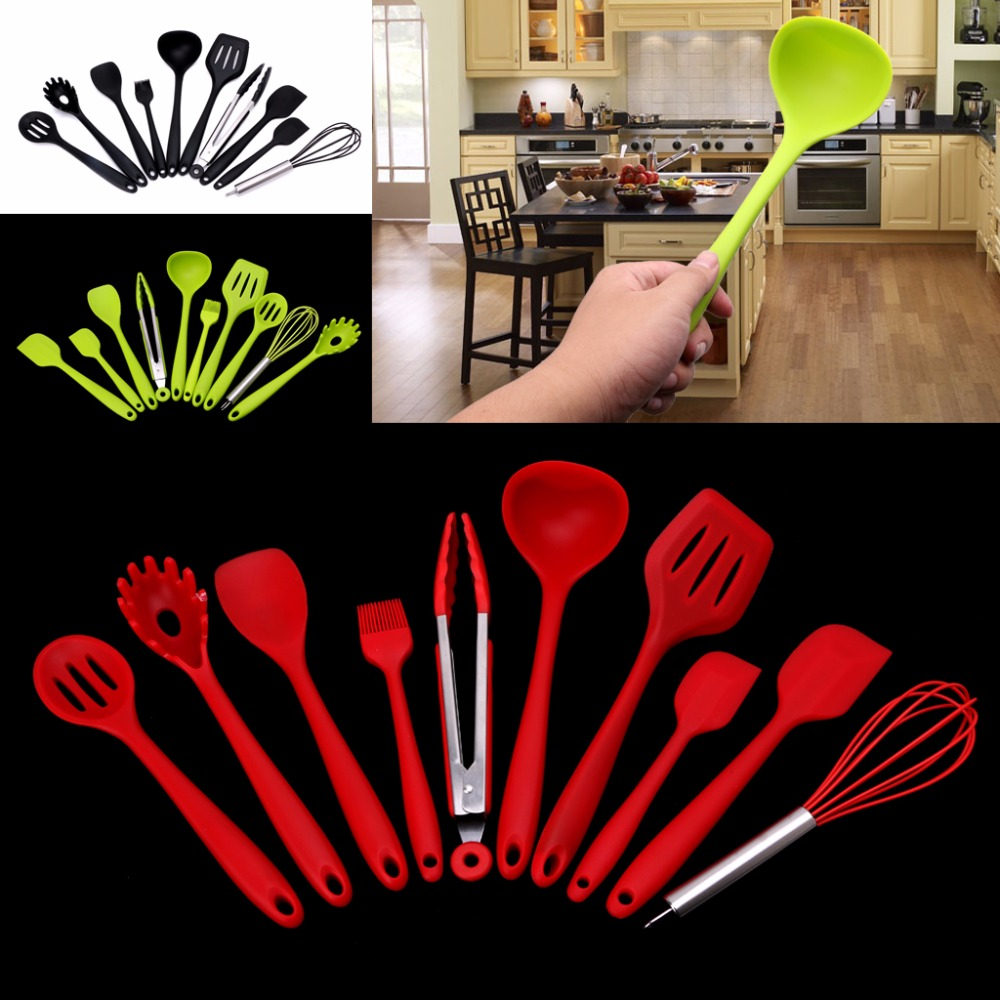 10Pcs Heat Resitant Non-stick Silicone Kitchen Utensils Set Cooking Bake Tool ...