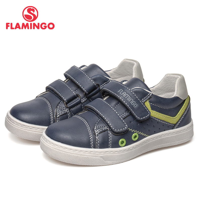 FLAMINGO Brand Breathable Arch Hook& Loop TPR Children Sport Shoes Leather Size 25-30 Kids Sneaker for Boy 91P-SW-1294 flamingo brand breathable arch hook