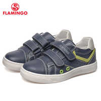 FLAMINGO Brand Breathable Arch Hook& Loop TPR Children Sport Shoes Leather Size 25-30 Kids Sneaker for Boy 91P-SW-1294