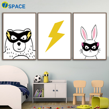 Super Hero Bear Rabbit Wall Art Canvas Painting Nordic Posters And Prints Nursery Prints Wall Pictures For Baby Kids Room Decor цена и фото