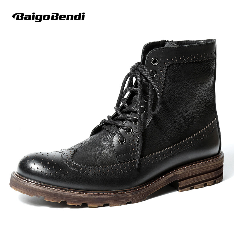 US6-10 British Style Mens Genuine Leather Lace Up Brogue Martin Boots Casual Wingtip Winter Fur Lined Fretwork Boots