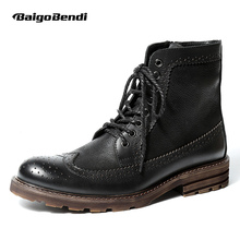 US6-10 British Style Mens Genuine Leather Lace Up Brogue Martin Boots Casual Wingtip Winter Fur Lined Fretwork