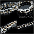 "(23cm)9""*18mm Handcrafted Inlaid Crystal Stainless Steel Silver Gold Curb Motorcycle Chain Biker Jewelry Mens Bracelet Bangle"