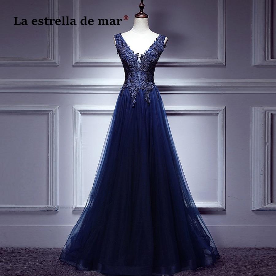 vestido de baile new sexy V neck Back a Linelace elegant navy blue Burgundy prom dress cheap vestidos de formatura long