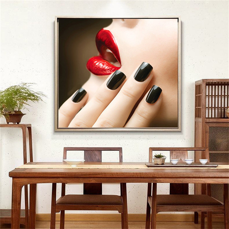 Modern Figure Lady Nordic Canvas Painting Picture Home Decor Wall Art Poster Nail Salon Print Living Room Girl Bedroom Picture