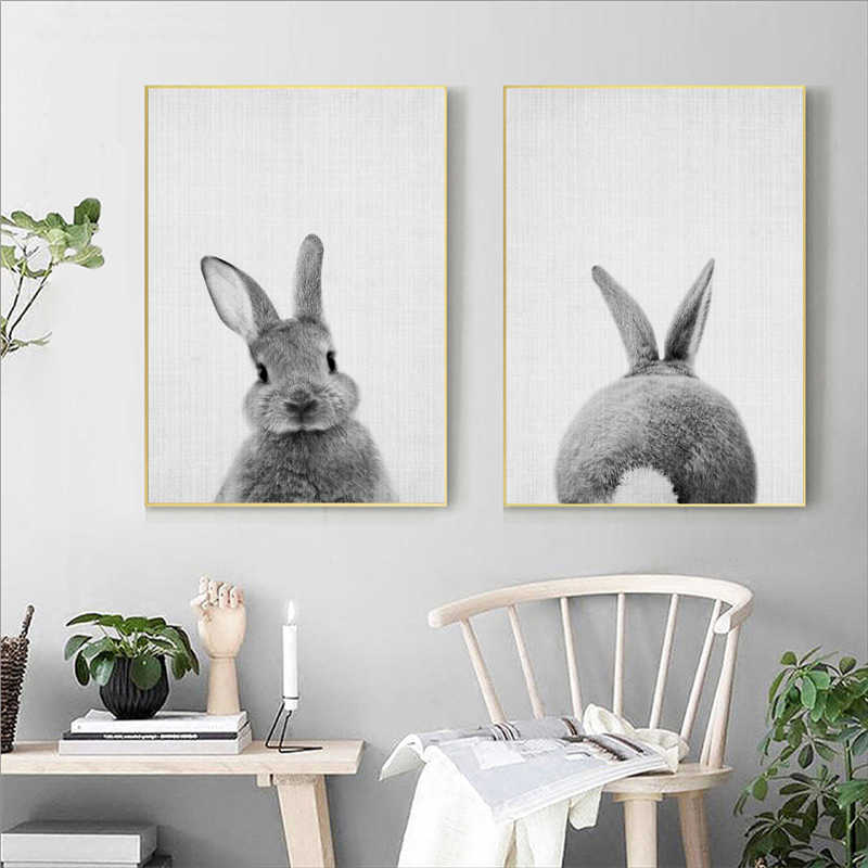 Bunny Rabbit Canvas Painting Woodlands Nursery Decor Animal Picture Wall Art Prints Modern Baby Room Decoration