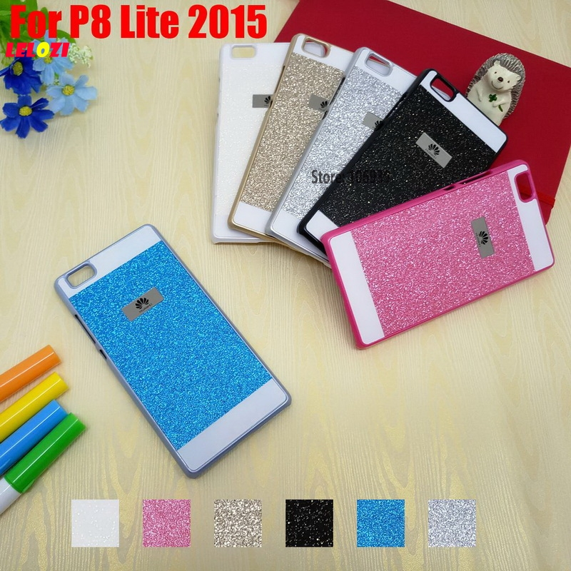 LELOZI Beautiful Fashion Luxury Vintage Bling Shinning Glitter Hard PC Capinha Etui Case Cover For Huawei P8 Lite 2015 Blue Pink