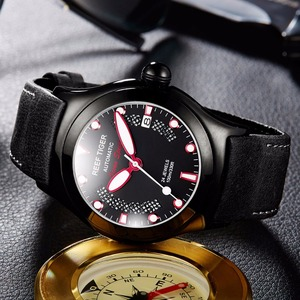 Image 4 - Reef Tiger/RT Mens Casual Sport Watches with Date Dark Calfskin Leather Strap Luminous Automatic Wrist Watches RGA704