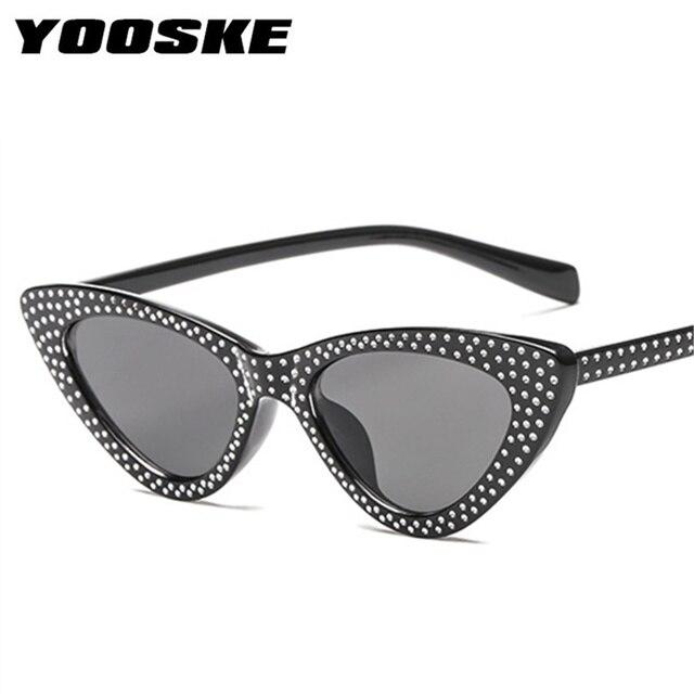 YOOSKE Luxo Strass Pequeno Sexy Cat Eye Sunglasses Mulheres Marca 2018 FashionSunglasses UV400 Vermelho Feminino óculos de Sol Do Vintage