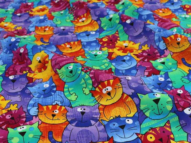 الكرتون القطط خليط الخياطة الطباعة الرقمية نسيج القطن الأنسجة