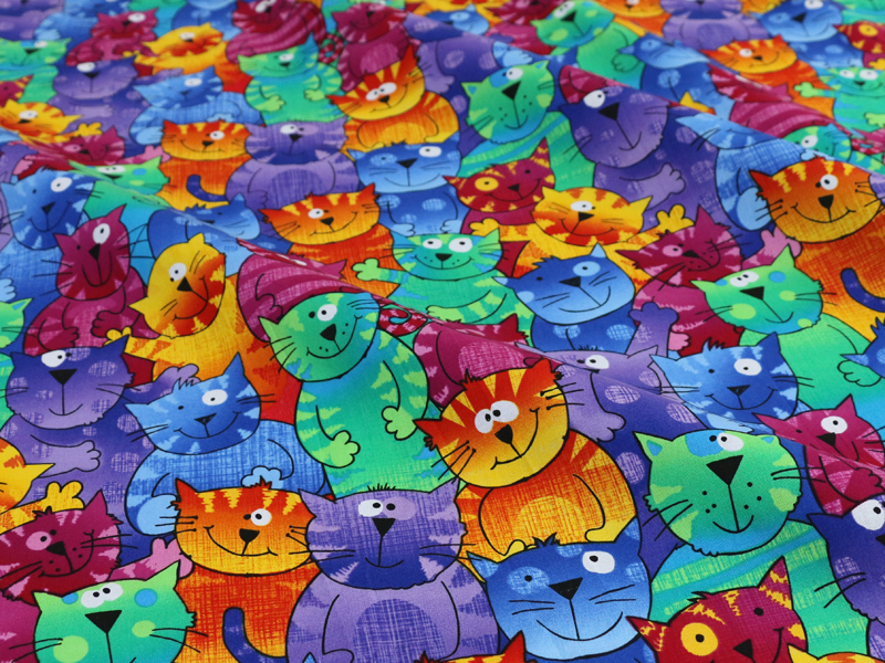 Cartoon cats patchwork sewing digital print fabric cotton tissues