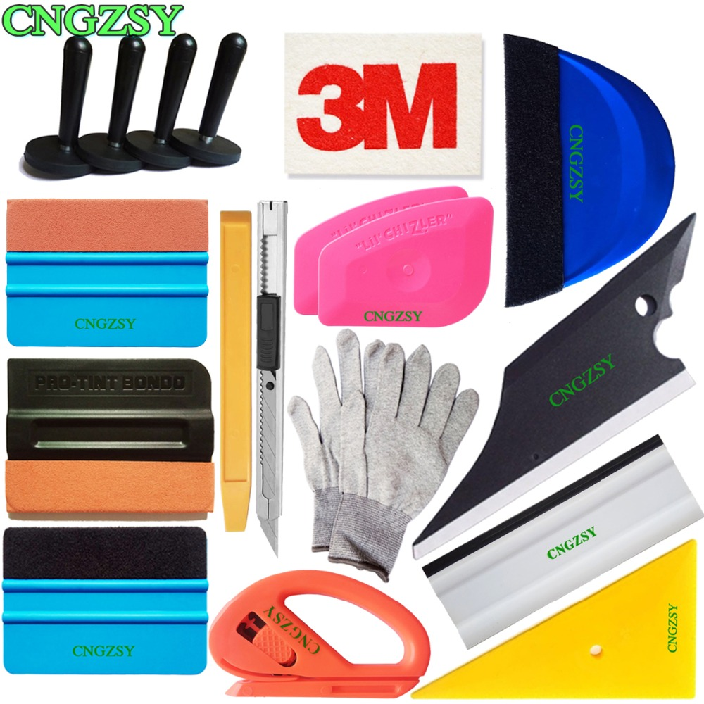 18pcs Decal Sticker Carbon Fiber Car Foil Vinyl Wrap Applicator Tool with Magnet Suede Wool Squeegee