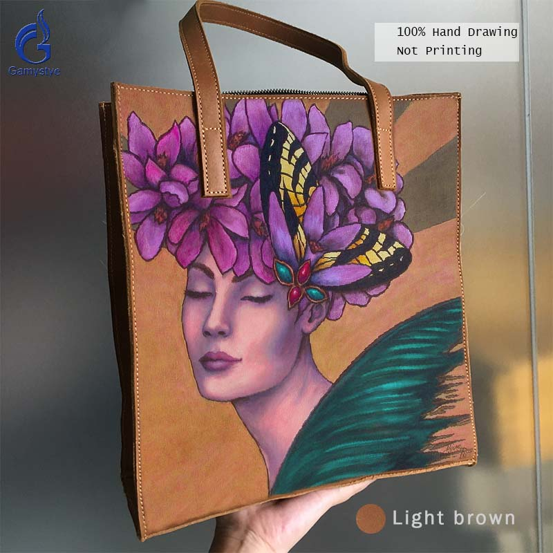цена на Genuine Leather Women Handbag Art Hand Drawing Oil Painted Print Flower Fairy New Grain Cowhide Leather Bag Handbags Totes Gift