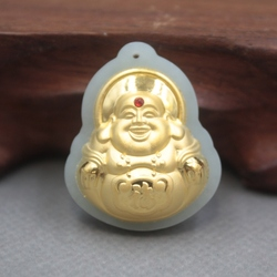 Nuovo 24 K Oro Giallo Naturale Giadeite Jade Donna Uomo Buddha Benedica Pendente 31x26mm