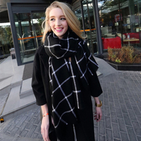 Sour Lemon Black And White Plaid Thick Winter Scarf Cool Girl Decorations Cashmere Scarves Women Warm