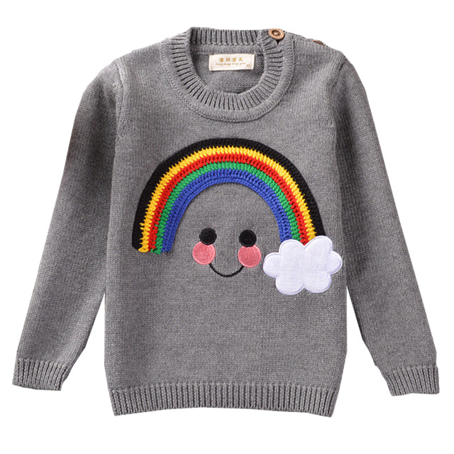QUIKGROW Real Cotton Rainbow Smile Face Brand Baby Sweater Infant Boy Little Girl Long Sleeve Warm Knitted Grey Jumpers YM22MY
