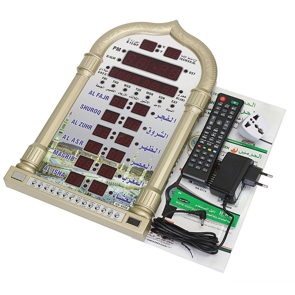 Tiempo de recuerdo regalo islámico automático Led musulmán oración decoración del hogar mezquita música Digital juego de mesa de pared reloj Azan Ramadan-in Relojes de mesa y de escritorio from Hogar y Mascotas    3