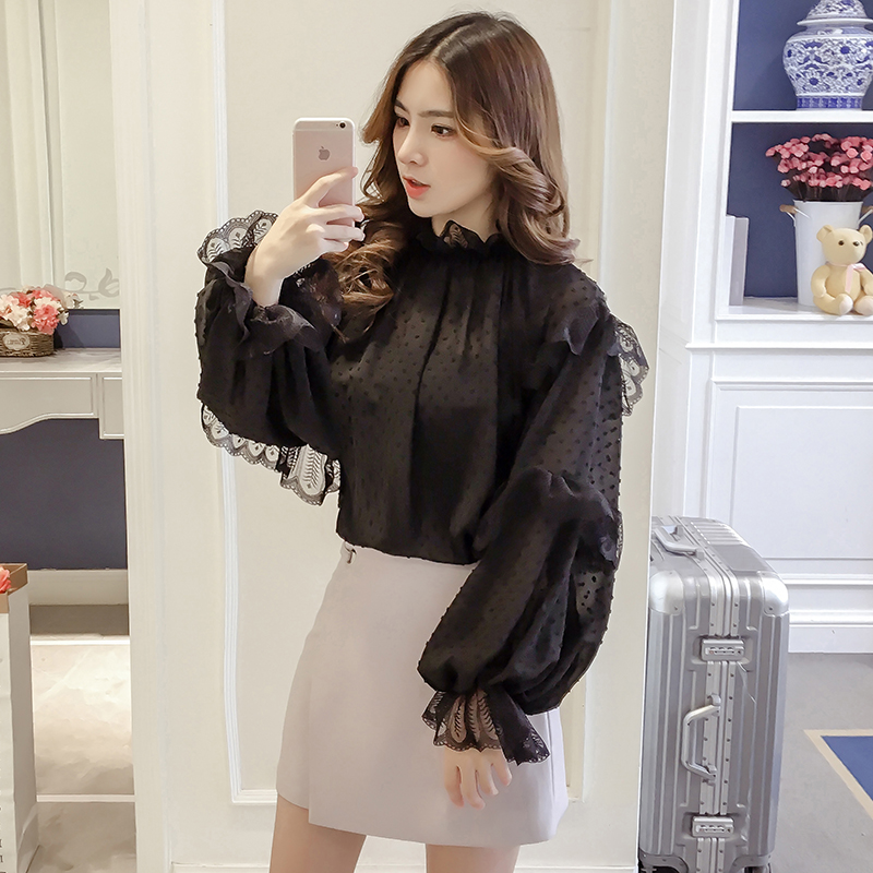 2018 Spring Cute Women Shirts Ruffles Full Sleeve Chiffon Lace Jacquard Twinset Blouse Shirt White Black Shallow Apricot 8703