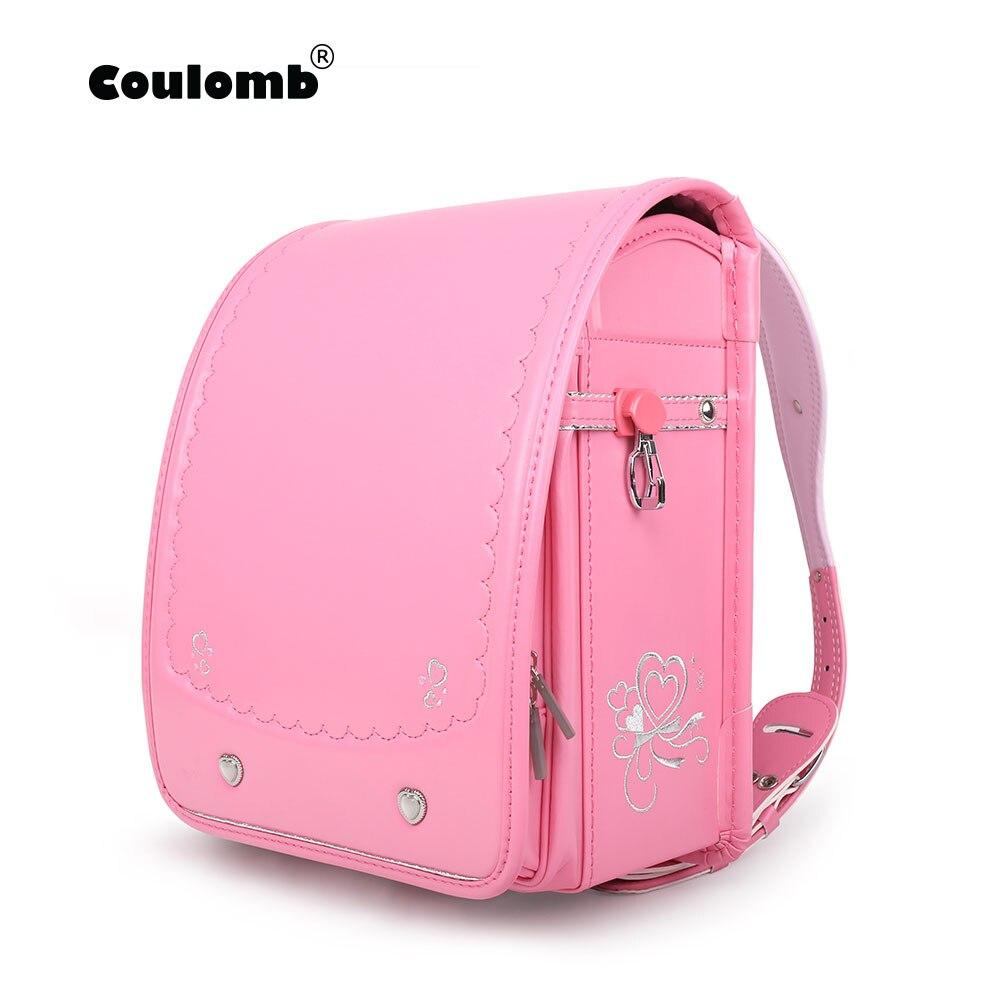 Coulomb Randoseru Kids Girl Backpack Pink Safety Reflective PU Hasp Child Book Bag Orthopedic Japan Baby School Bag Children Gif