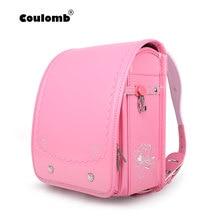 Coulomb Randoseru Kids Girl Backpack Pink Safety Reflective PU Hasp Child Book Bag Orthopedic Japan Baby School Children Gif