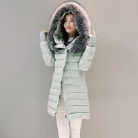 2017 New Fashion Rhinestones Thick Warm Winter Jacket Women S Fur Hooded Parka Women Cotton Padded
