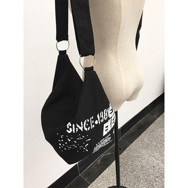 2019 Black Korean Over Shoulder Bags Women Female Irregular Canvas Crossed Body Crossbody Handbags Bag Ladies N Messenger Bags 1