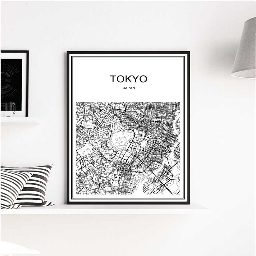 Venda quente famoso mapa Da Cidade de Tóquio abstrato arte do cartaz do vintage papel kraft Café bar em casa sala de estar decoração Retro Poster pintura