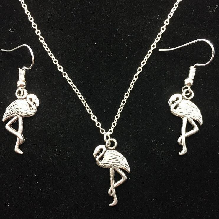 Dangle Earrings & Pendant Necklace Fashion Wedding Jewelry Sets New Vintage Antique Silver Plated Flamingos Birds Charm