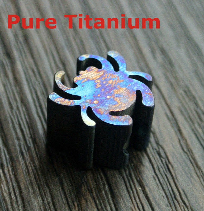 TC4 Titanium Spider Shaped Handmade Fired Beads Men Metal Keychain Insect Charms DIY Paracord Knife Tool Lanyard Pendant Bead