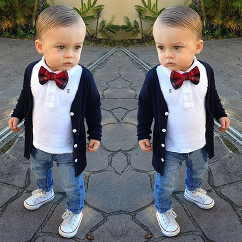 New Spring Baby Boy Clothes European Style Blouse + Shirt + Jeans + Bow Tie Suit Boys Clothing Casual Kids Clothing Set For Boys
