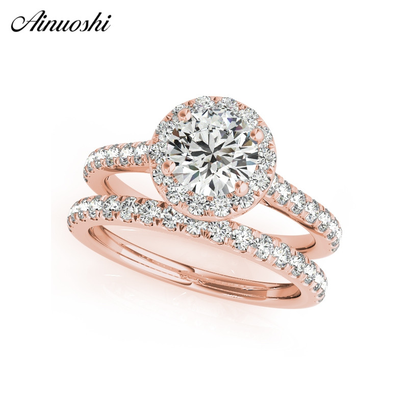 AINUOSHI 925 Sterling Silver Women Rings Rose Gold Color Round Cut 1CT Silver Ring Sets Engagement Party Gifts anillos de plata 6pcs of stylish color glazed round rings for women