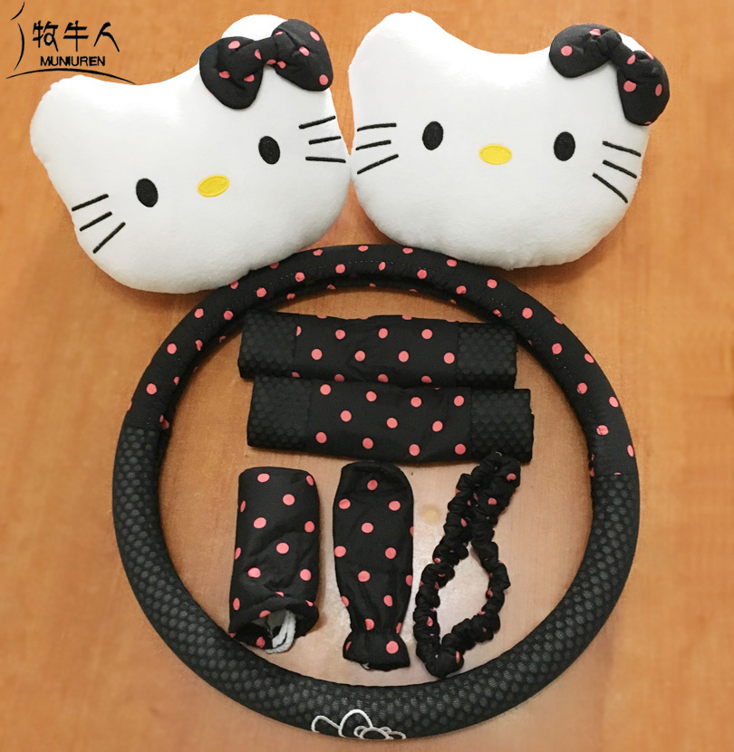 MUNIUREN 8pcs/ set Polka Dots Cute Cartoon Hello Kitty Universal Seat interior Accessories Car Steering Wheel Covers Headrest