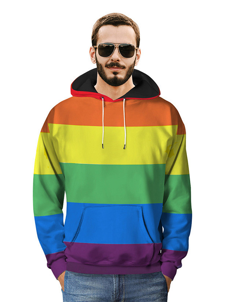 Arsmt Hooded Sweatshirts Long Sleeve Pullover Cute Rainbow Stars for Mens