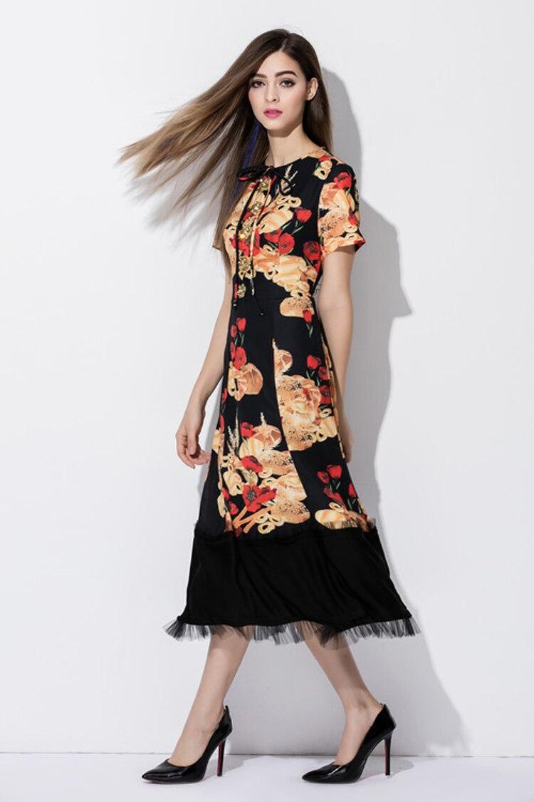 b1654e241b4da US $60.0 20% OFF|Custom Dress S 7XL 2017 Summer Newest Short Sleeve Bread  Hamburgers Rose Print Tassel Elegant Mid Calf Plus Size Dress Women-in ...