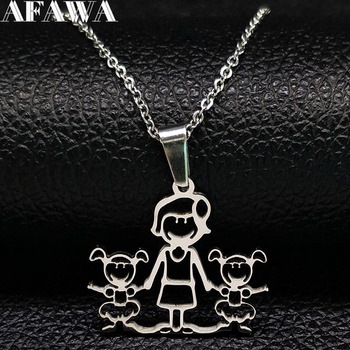 Unisex Family Necklace Jewelry Necklaces Women Jewelry Metal Color: 1mom 2 girl