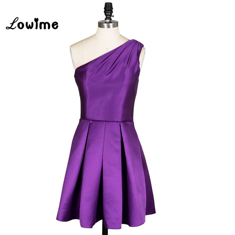 In Stock Purple Prom Dresses Short One Shoulder Celebrity Dresses