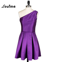 In Stock Purple Prom Dresses Short With One Shoulder Celebrity Dresses Robe De Soiree Cheap For