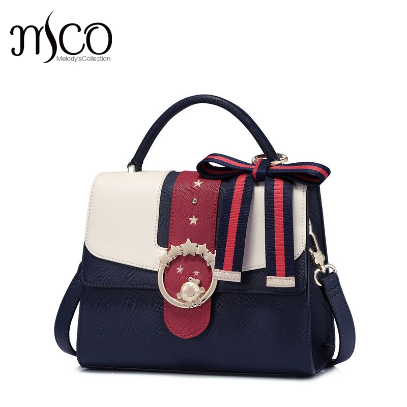 2017 Famous Brand Design Bowknot Shoulder Bag For Girls Preppy Style Luxury Handbag Cute Messenger Bags Leather Bolsa Feminina famous brand women canvas bags shoulder bag italy handbag style retro handmade bolsa feminina braccialini for ladies mexico bags