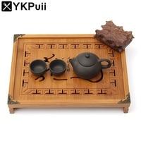 Natural Wood Bamboo Tea Tray Kung Fu Tea Set Rectangular Chinese Traditional Bamboo Puer Tea Tray