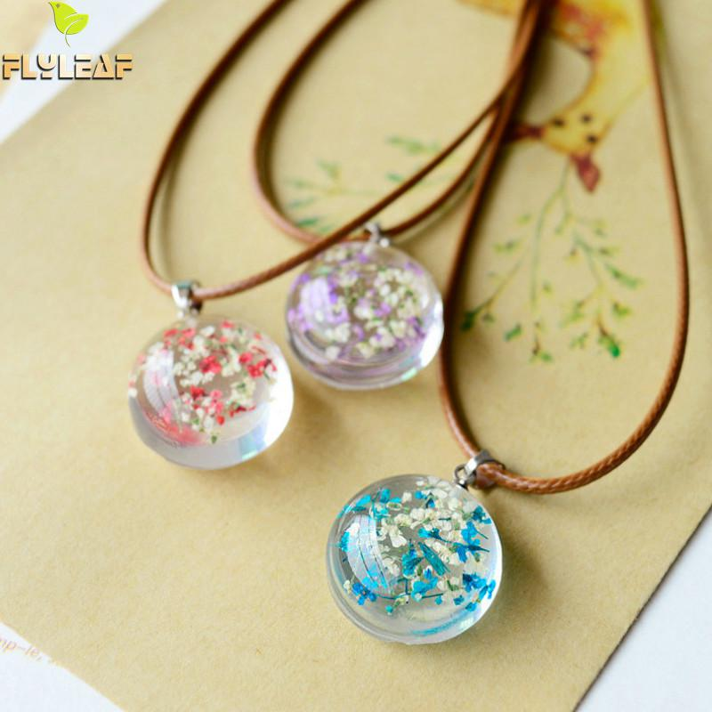 flyleaf handmade epoxy dried flowers necklaces