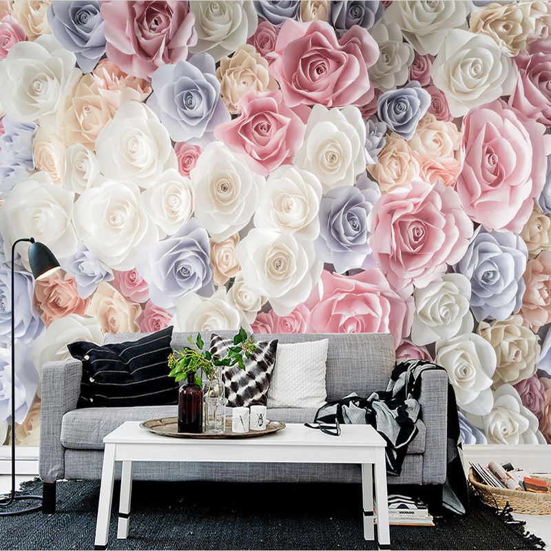 Hand Painted 3D Floral Garden Roses Custom Photo Wallpaper Mural Living Room Sofa TV Background Wall Covering Papel De Parede 3D custom photo wallpaper 3d stereoscopic relief statue living room tv background wall painting wallpaper mural papel de parede 3d
