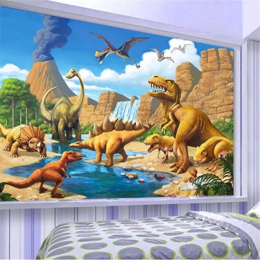 Beibehang Papel De Parede Custom Wallpaper 3d Mural Fantasy Lakeside Dinosaur Tyrannosaurus Childrens Room Background Wallpaper