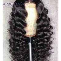 Perruque vague lâche sans colle pleine dentelle perruques 180 densité noir perruque pour femmes cheveux humains avec bébé cheveux naturel perruque Remy cheveux Aimoonsa